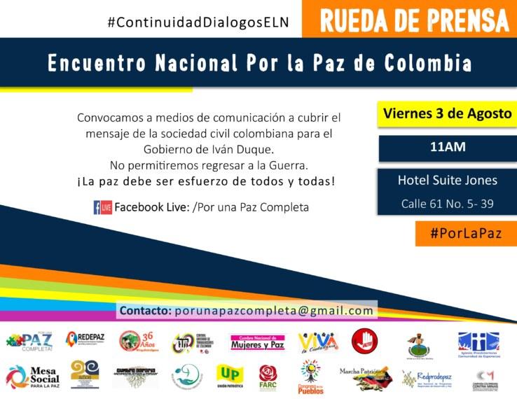 Rueda de prensaEncuentro Nacional por la paz Flyer 2