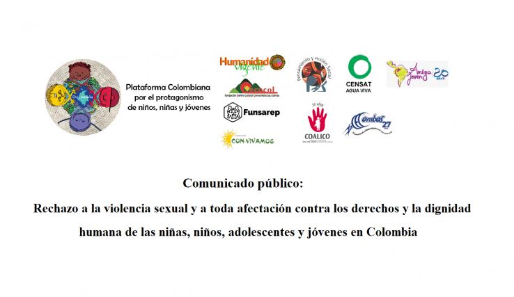 Comunicado público Rechazo a la violencia sexual y a toda afectación contra los derechos y la dignidad humana de las niñas, niños, adolescentes y jóvenes